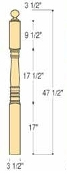 "Hampton Starting Newel - 3 1/2"" x 47 1/2"" - C-4001"