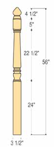 "Marion Starting Newel - 3 1/2"" x 56"" - C-4282L"